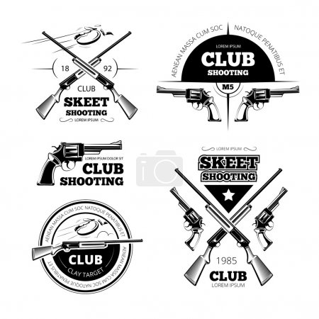 Vintage gun club labels, logos, emblems set. Badge...