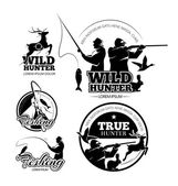Vintage hunting and fishing vector labels logos emblems set
