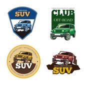 Off-road car vector emblems labels and logos Transport vehicle transportation auto motor speed illustration