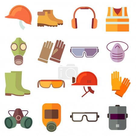 Illustration for Flat job safety equipment vector icons set. Safety icon, helmet equipment, job industrial, safety headgear and protection boot illustration - Royalty Free Image