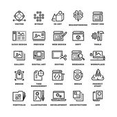 Web and mobile apps development line vector icons