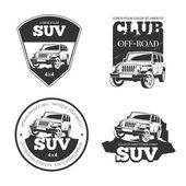 Suv car vector emblems labels and logos Offroad extreme expedition 4x4 vehicle illustration