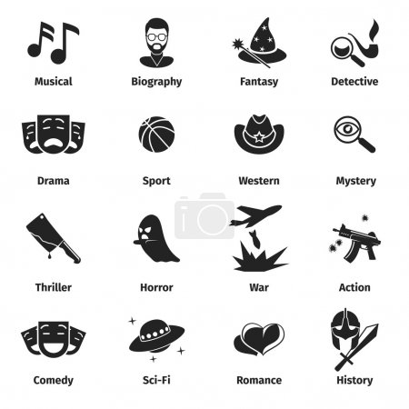Illustration for Movie genres vector icons. Movie film genres, comedy genre, war and romance genres, history drama film genre illustration - Royalty Free Image