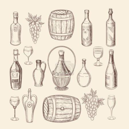 Illustration pour Esquisse de vignoble dessinée à la main et éléments vectoriels de vin doodle. Bouquet de vignes et raisin dessiné à la main, illustration d'alcool de vin - image libre de droit