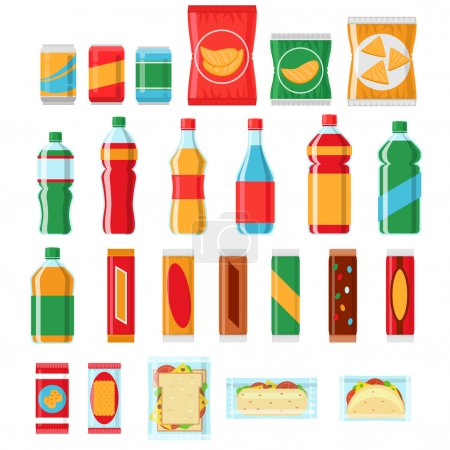 Illustration pour Restauration rapide snacks et boissons vecteur plat icônes. Distributeur automatique, Snack food, puce, illustration de snack pack - image libre de droit