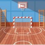 School or university gym hall. Gym court for football and basketball, school hall, floor game. Vector illustration