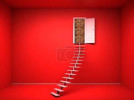 Photo pour Vide chambre 3d rouge avec porte ouverte. rendre. Mur de briques - image libre de droit