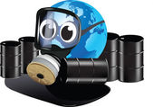Earth with gas mask cartoon