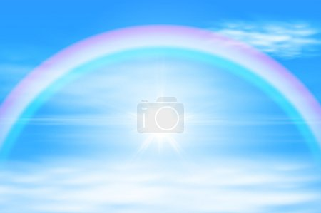 Illustration for Sun in a the sky with rainbow. EPS10 vector. - Royalty Free Image