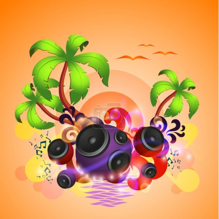 Tropical disco dance background with speakers