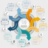 8 šipka kruh infografiky šablonu kroku. Vektorové ilustrace