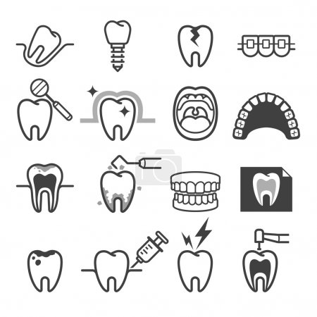 Dental tooth icons. Vector illustration.