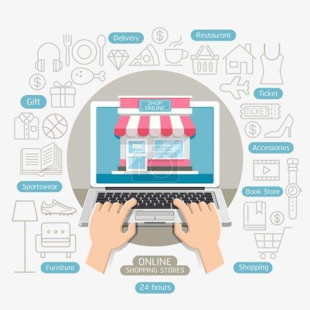 Illustration pour Shopping en ligne affaires conceptuel style plat. Illustration vectorielle. Peut être utilisé pour le modèle de mise en page de flux de travail, bannière, diagramme, options de nombre, conception Web, infographie, chronologie . - image libre de droit