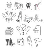 Spa Massage Therapy Skin Care & Cosmetics Services Icons Vector