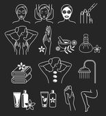 Spa Massage Therapy Skin Care & Cosmetics Services Icons