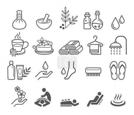 Illustration for Spa massage therapy cosmetics icons. Vector Illustration. - Royalty Free Image