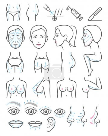 Illustration for Cosmetic plastic surgery icons. Vector illustration. - Royalty Free Image