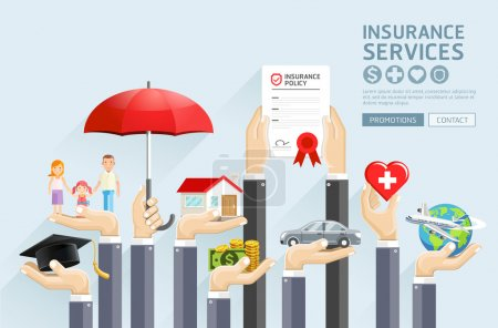 Illustration for Insurance hands services. Vector Illustrations. - Royalty Free Image
