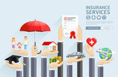Insurance hands services Vector Illustrations
