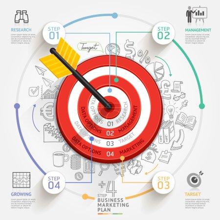 Illustration pour Concept de marketing cible des entreprises. Cible avec des icônes flèches et gribouillis. Peut être utilisé pour la mise en page du flux de travail, bannière, diagramme, conception Web, modèle infographique . - image libre de droit