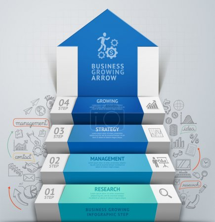 3d business arrow step staircase infographics.