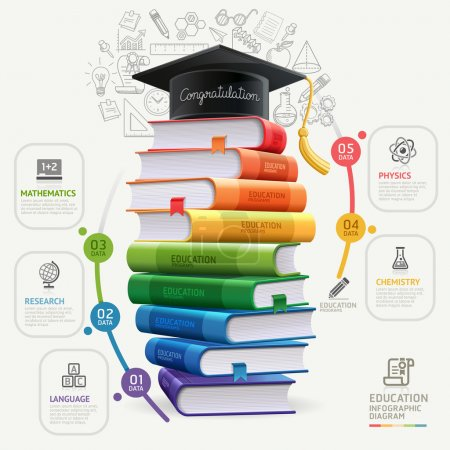 Illustration for Books step education infographics. Vector illustration. can be used for workflow layout, banner, diagram, number options, step up options, web design. - Royalty Free Image