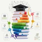 Books step education infographics. Vector illustra...