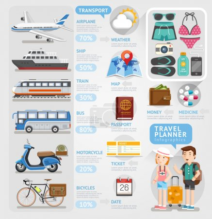 Illustration for Travel planner infographics element. Vector illustration. Can be used for workflow layout, banner, number options, step up options, web design, diagram. - Royalty Free Image