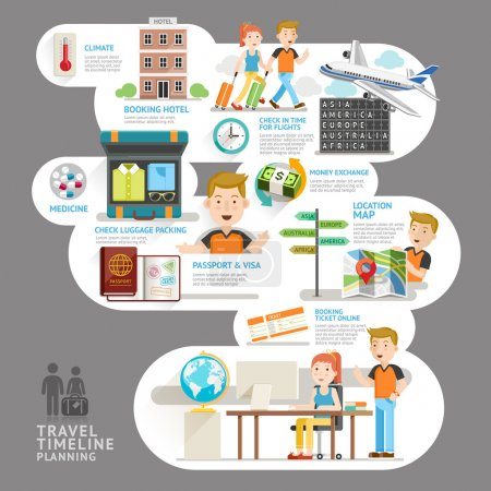 Travel timeline planning element. Vector illustration. Can be used for workflow layout, banner, number options, step up options, web design, diagram, infographics.