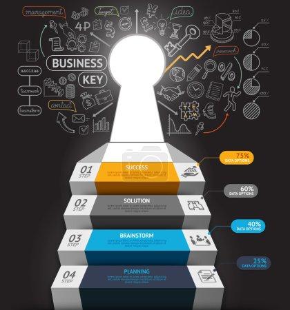 Illustration pour Business step infographies conceptuelles. Escalier d'affaires avec trou de serrure et gribouillettes icônes. Peut être utilisé pour la mise en page du flux de travail, bannière, diagramme, conception Web, modèle infographique . - image libre de droit
