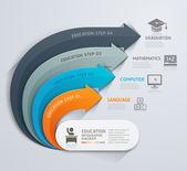 Moderní šipka vzdělávání template. Vektorové ilustrace. Lze použít pro uspořádání pracovního postupu, diagram, možnosti čísel, web design, infografiky a časová osa
