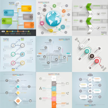 Illustration for Business timeline elements template. Vector illustration. can be used for workflow layout, banner, diagram, number options, web design, infographic template - Royalty Free Image