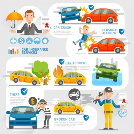 Car insurance business character and icons template.