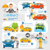 Car insurance business character and icons template