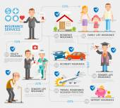 Business insurance character and icons template