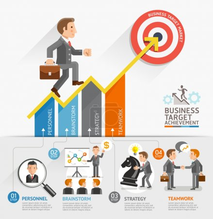 Illustration for Business Growth Arrow Strategies Concept. Businessman walking on arrow. Vector illustration. Can be used for workflow layout, banner, diagram, number options, step up options, web design, timeline, infographic template. - Royalty Free Image