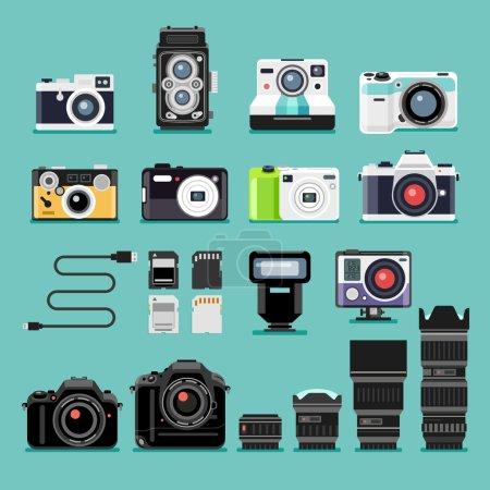 Camera flat icons. Vector illustration.