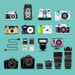 Camera flat icons. Vector illustration....