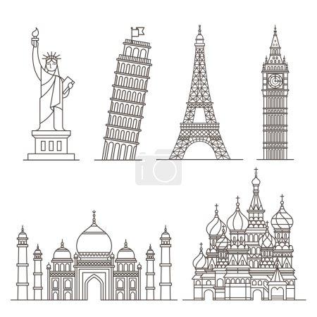Illustration for Landmark icons. Statue of Liberty, Tower of Pisa, Eiffel tower, Big ben, Taj mahal, Saint basil's cathedral. Vector illustration - Royalty Free Image
