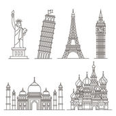 Landmark icons Statue of Liberty Tower of Pisa Eiffel tower Big ben Taj mahal Saint basil's cathedral