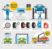 Auto Maintenance Services icons Vector illustration