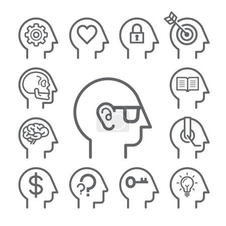 Illustration for Head line icons set. Vector illustration. - Royalty Free Image