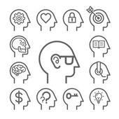 Head line icons set Vector illustration