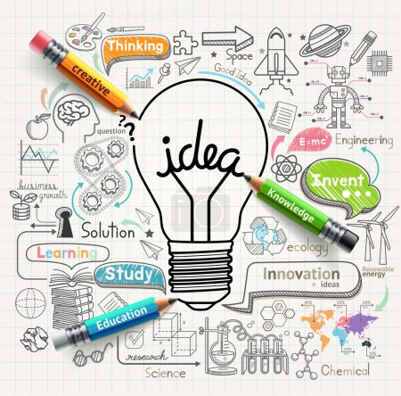 Illustration for Lightbulb ideas concept doodles icons set. Vector illustration. - Royalty Free Image