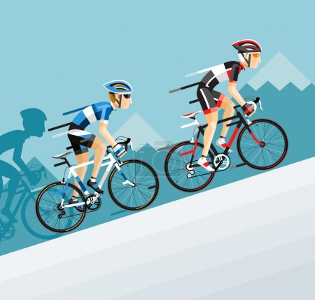 Group of cyclists man in road bicycle racing go to the mountain.