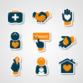 Charity and donation paper cut icons