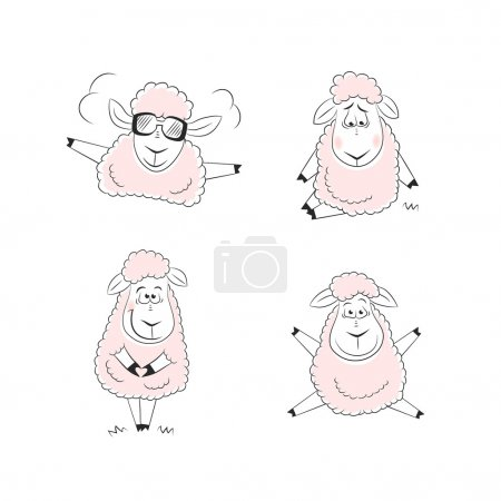 Illustration for Funny sheep character design - Royalty Free Image