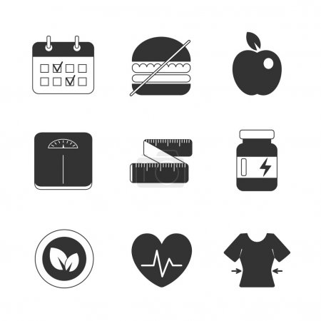 Healthy fitness diet icons set