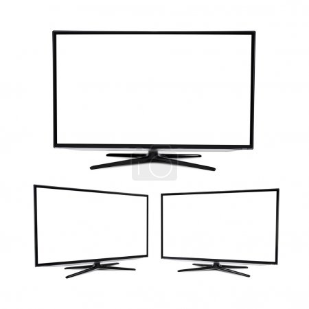 Modern blank flat screen TV set, isolated on white background