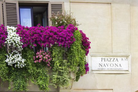 Italian balcony decorated with flowers petunias
